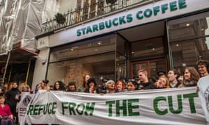 Protesters outside Starbucks