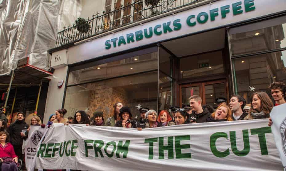 Protesters outside Starbucks