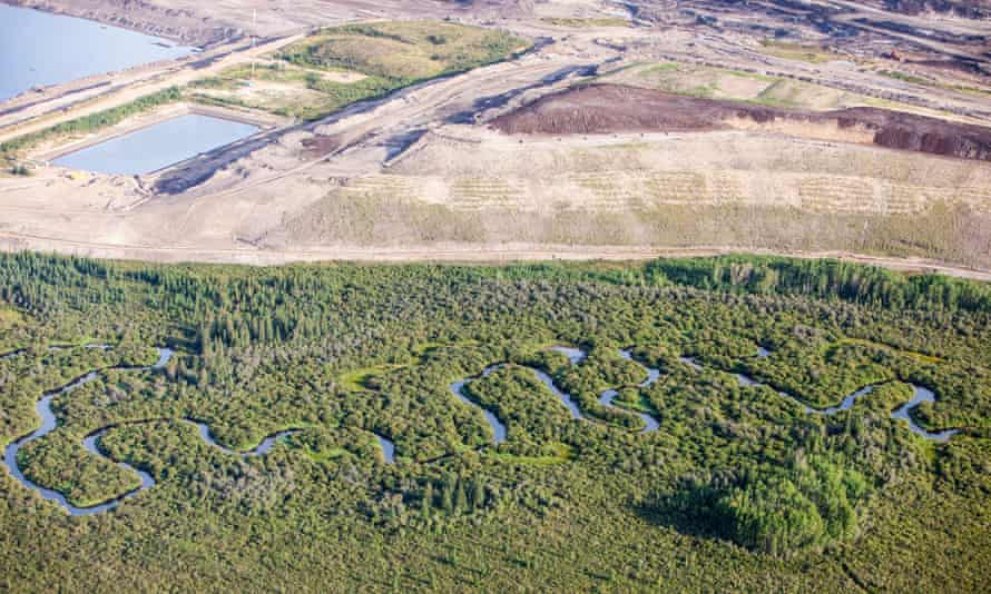 CX4H4N Boreal forest trees clear felled to make way for a new tar sands mine north of Fort McMurray, Alberta,