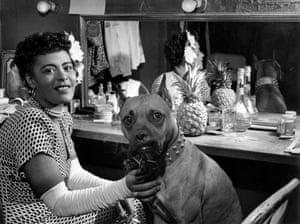 Billie Holiday in dressing room, 1946