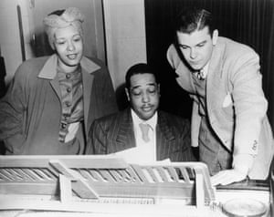 """Billie Holiday and composer Duke Ellington rehearse """"Symphony in Black: A Rhapsody of Negro Life"""", 1935"""
