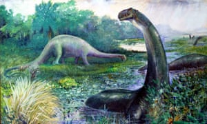 A painting from 1897, depicting Brontosaurus as semi-aquatic animal, with Diplodocus in the background.