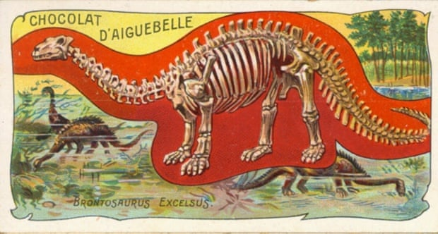Brontosaurus as researchers imagined it in the late 1800s, on a chocolate wrapper. Photograph: Picasa