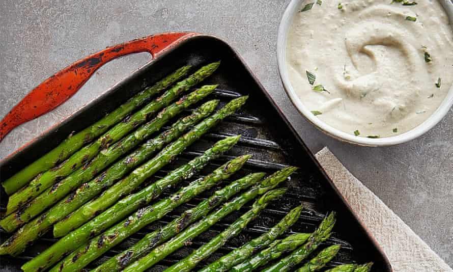 Yotam Ottolenghi's asparagus with aubergine mayonnaise.