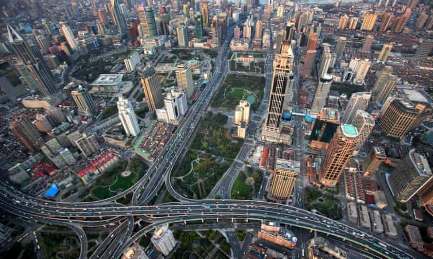 An aerial view of central Shanghai