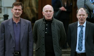 Former Kincora residents (left to right) Richard Kerr, Gary Hoy, and Clint Massey outside Belfast high court.