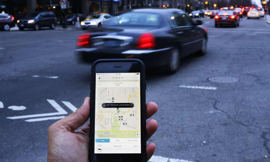 An Uber app in Washington DC