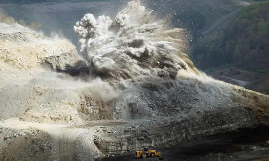 An explosive is detonated at an A & G Coal Corporation surface mining operation in the Appalachian Mountains.