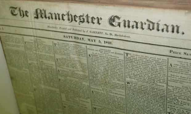The front page of the Manchester Guardian, 5th May 1821.