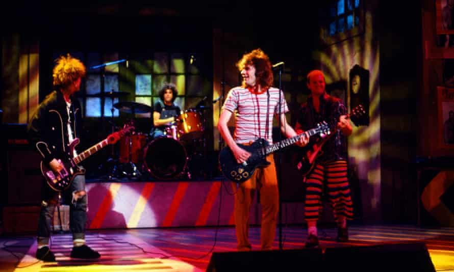 The Replacements play Saturday Night Live in 1986 …Tommy Stinson, Chris Mars, Paul Westerberg, Bob Stinson.