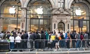 fans queuing outside the Apple store in Regent Street