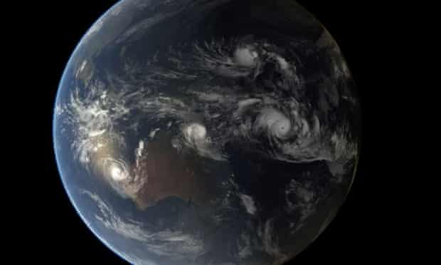 Four Tropical Cyclones  Composite image of tropical cyclones Olwyn, Nathan, Bavi and Pam, generated at 12:00 UTC on 12 March 2015. For further alerts or advisories on these and other tropical storms, visit the GDACS web site. Composite image, comprising infrared data from the geostationary orbiting satellites of EUMETSAT and the JMA. Infrared data overlays a computer-generated model of the Earth, containing NASA's Blue Marble Next Generation imagery. Credits: EUMETSAT