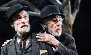 Roger Rees as Vladimir and  Ian McKellen as Estragon in Waiting For Godot at Theatre Royal, Haymarket, London, in 2010.