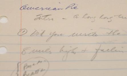 Don McLean's original handwritten lyrics for 'American Pie' were sold on Tuesday.