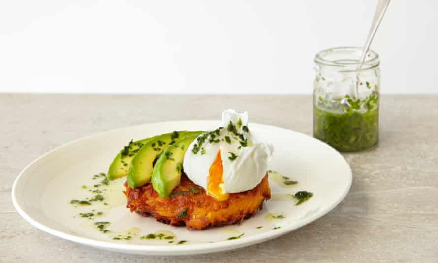 Thomasina Miers' sweet potato fritters with poached egg and parsley oil: 'A delight.'
