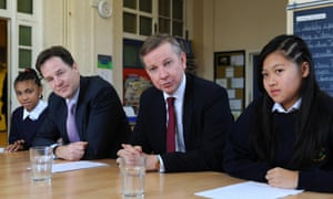 Deputy prime minister Nick Clegg and then education secretary Michael Gove with pupils at Durand Academy school, London, in 2012.