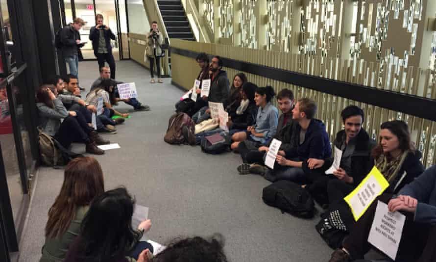NYU abu dhabi sit-in protest