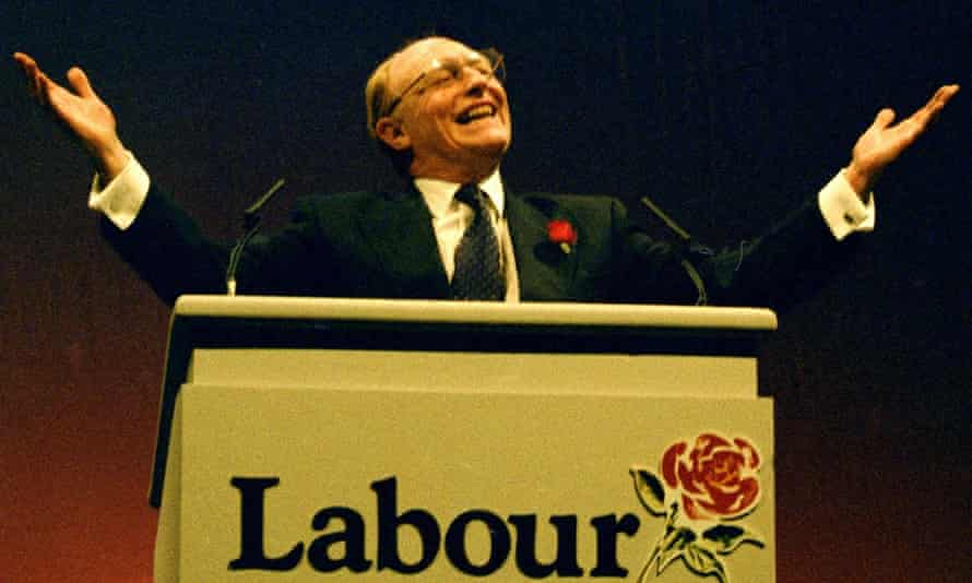 Neil Kinnock at a rally in the runup to the 1992 election.