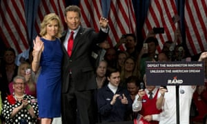 Rand Paul and his wife Kelley onstage in Louisville to announce his presidential campaign.