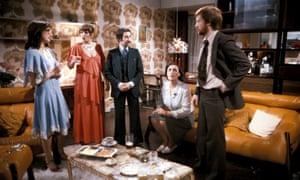 John Salthouse, Alison Steadman, Janine Duvitski and Harriet Reynolds in Mike Leigh's Abigail's Party.