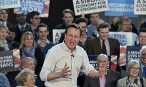 David Cameron delivers a speech to Conservative supporters at an election campaign event in Wadebridge, Cornwall, on Tuesday.