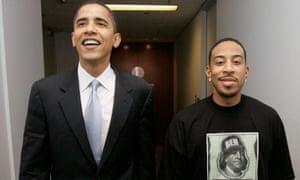 Ludacris and the then Senator Barack Obama in 2008.