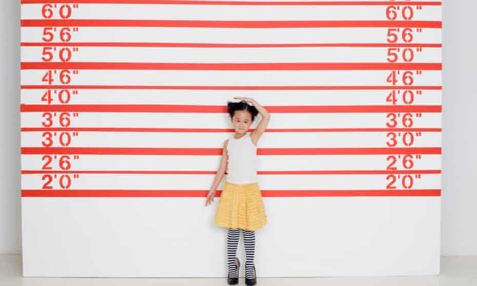 A young girl measures herself in front of growth chart. Natural selection and good environmental conditions may help explain why the Dutch are so tall.
