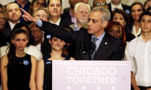 The re-elected Chicago mayor, Rahm Emanuel .