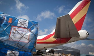 Medical supplies await loading in New York last September. The international response to the Ebola crisis contributed significantly to a high level of aid spending in 2014.