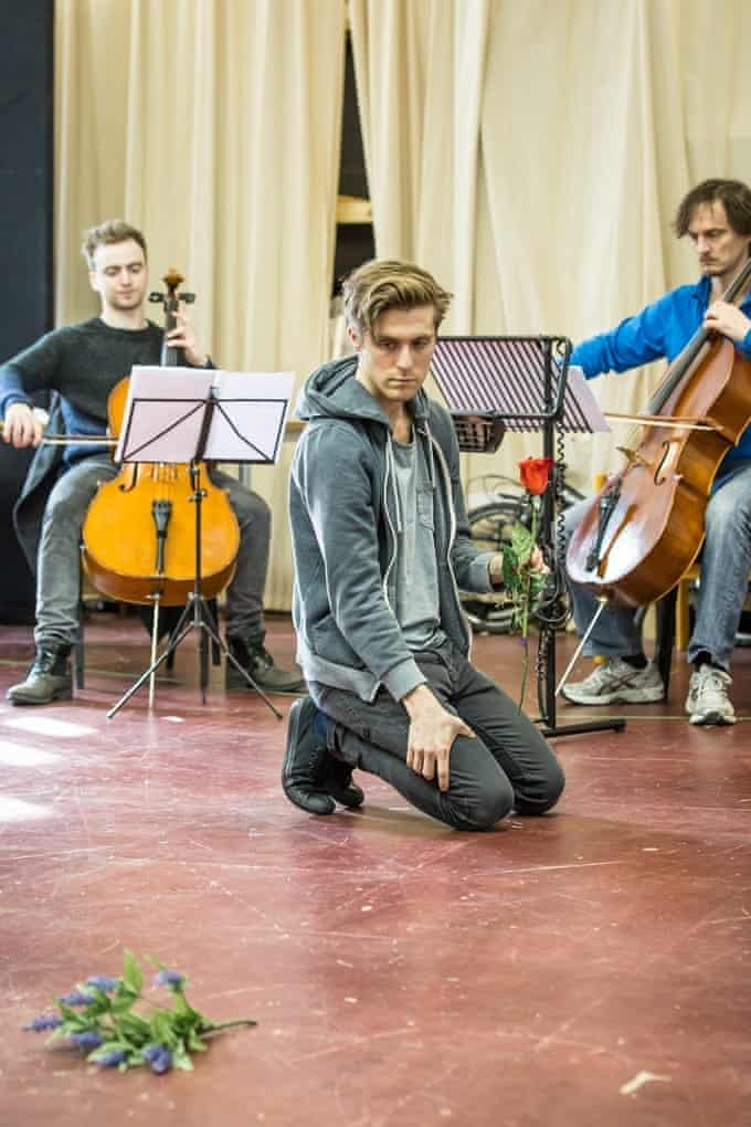 Jamie Cameron, Jack Farthing and Harry Napier rehearsing Carmen Disruption at the Almeida theatre, London.