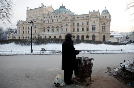 A welcome spot of warmth in Kraków's city centre as a brazier of coal burns for public use.