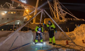 Scientists from Norwegian Polar Institute in front  of the RV Lance Finally collect zooplankton, March 2015