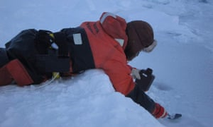 A researcher is sampling the saline surface layer of newly formed ice.