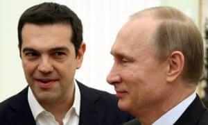 Greek prime minister, Alexis Tsipras, with the Russian president, Vladimir Putin, in the Kremlin