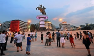 On his pedestal … Alexander the Great takes pride of place in Skopje's main square