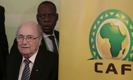 A CAF executive meeting, attended by Sepp Blatter and Issa Hayatou, voted for Gabon to host the 2017 Africa Cup of Nations. Photograph: Hassan Ammar/AP