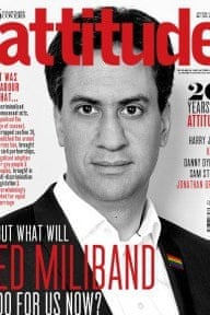 Ed Miliband on the cover of the current issue of Attitude Magazine
