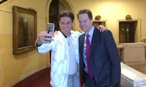 Clegg meets Joey Essex from ITV's The Only Way Is Essex after a press conference in Westminster, London.
