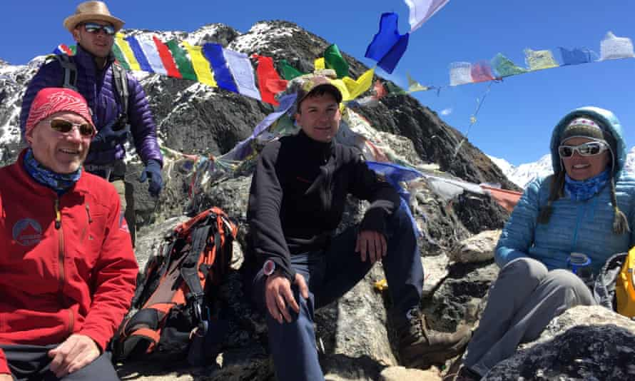 From left, David Hamilton, Jagged Globe's Everest leader, with clients Dan Fredinburg,Michele Battelliand Selina Dicker.