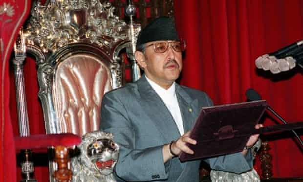 King Birendra of Nepal addressing a joint session of Parliament in Kathmandu, July 1999.