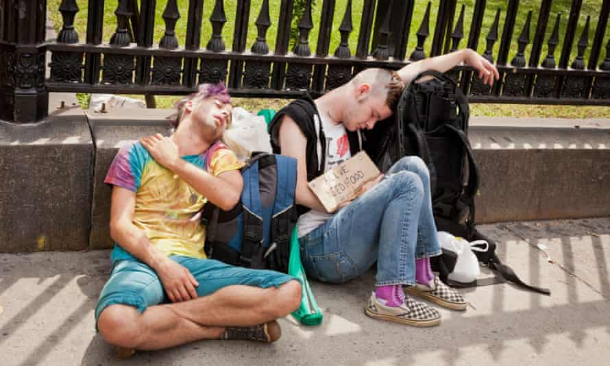 Teenagers begging in New York.