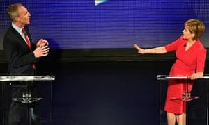 Jim Murphy and Nicola Sturgeon during the televised Scottish leaders' debates