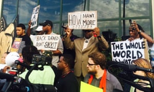 Protesters against the death of Walter Scott in North Charleston on 8 April 2015.