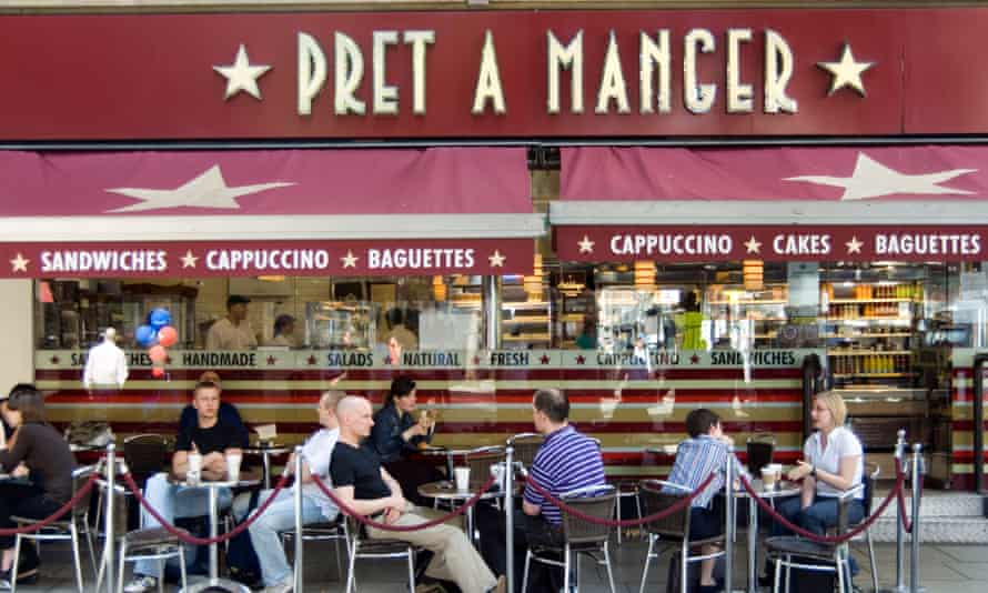 pret with customers outside