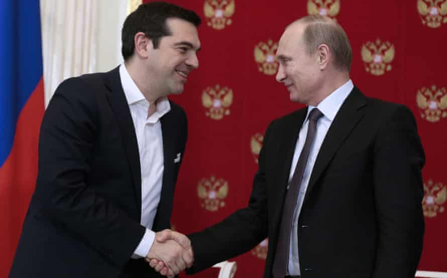 Alexis Tsipras and Vladimir Putin hold a press conference in the Kremlin on Wednesday.