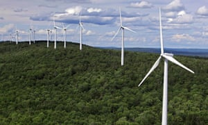 Renewable energy sources, like these wind turbines in Stetson, Maine, can help stabilize energy prices in the long term, resulting in significant cost savings for companies.