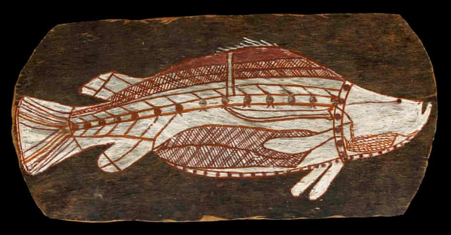 Bark painting of a barramundi, c.1961