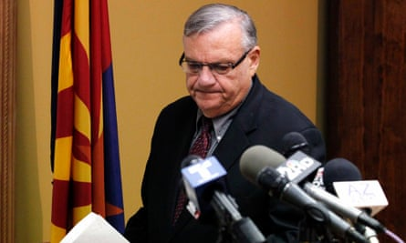 Maricopa County Sheriff Joe Arpaio, arrives to answer questions regarding the Department of Justice announcing a federal civil lawsuit against Sheriff Arpaio and his department, prior to a news conference Thursday, May 10, 2012, in Phoenix.  According to the Department of Justice, after months of negotiations failed to yield an agreement to settle allegations that the sheriff's department racially profiled Latinos in his trademark immigration patrols, the lawsuit was filed.(AP Photo/Ross D. Franklin)