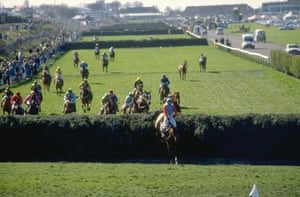 1989 Jimmy Frost on Little Polveir jumps a fence and leads the field before going on to win by seven lengths