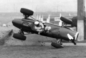 1964 It was not only jockeys who were injured at Aintree, here Richie Ginther crashes as his BRM becomes airborne at 120mph during practice for the Aintree 200. The car landed upside down but Ginther escaped with a cut jaw and fractured ribs